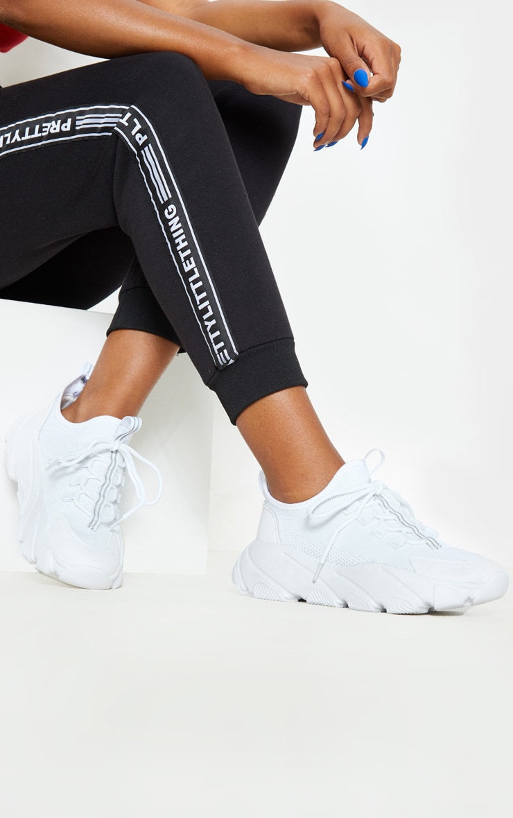 White Lace Up Sock Sneakers | Shoes