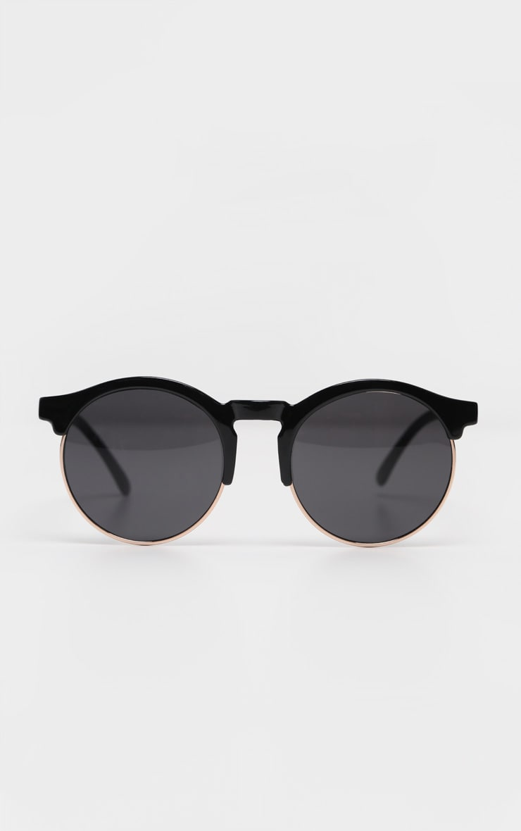 Black Classic Round Retro Sunglasses 2