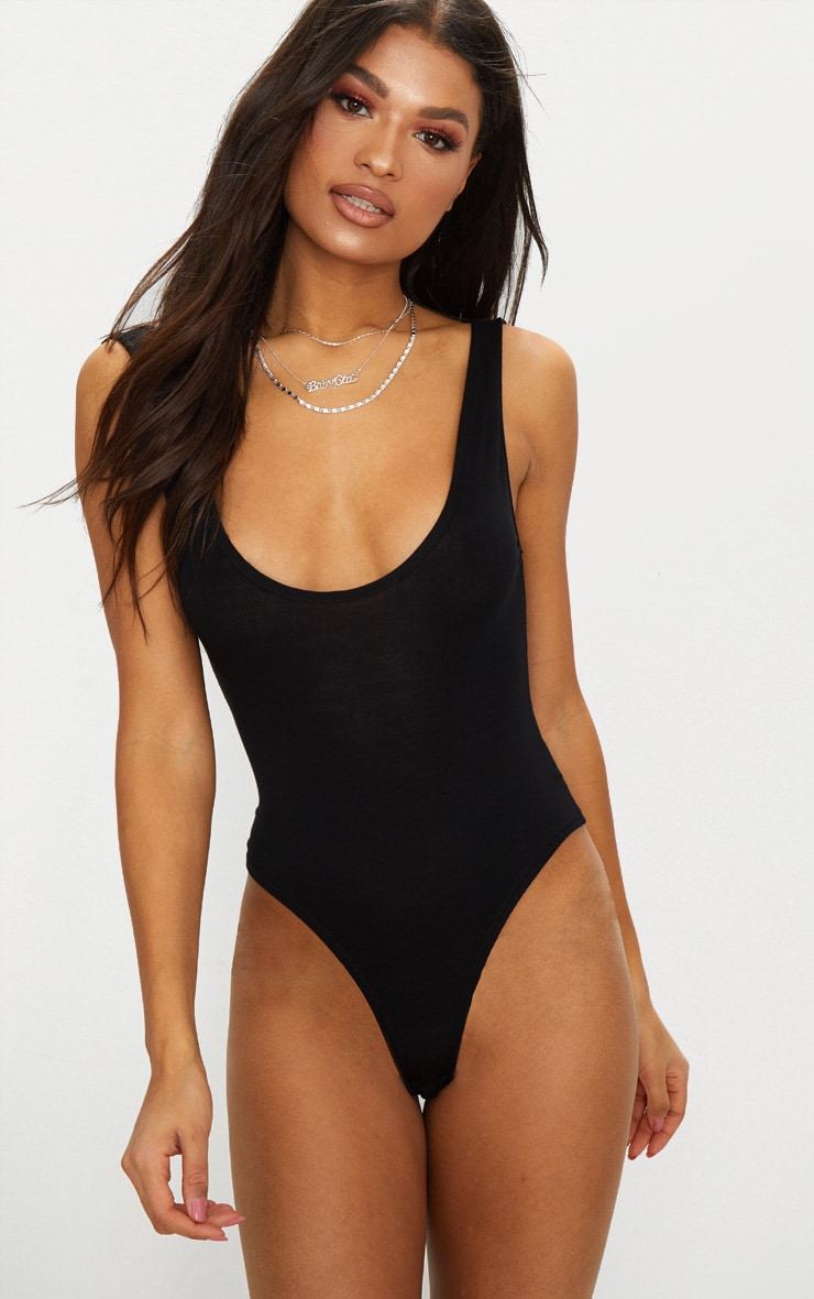 Black Scoop Neck Low Back Jersey Thong Bodysuit  2