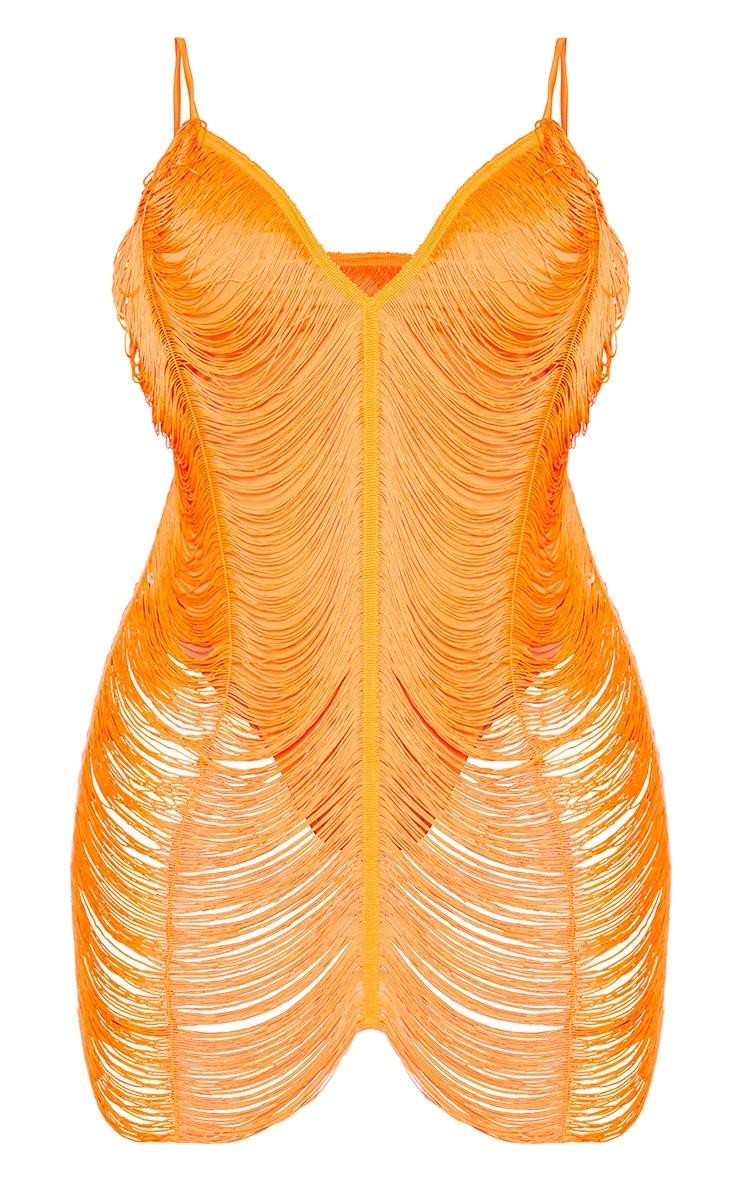 Shape Bright Orange Fringe Detail Bodycon Dress 5
