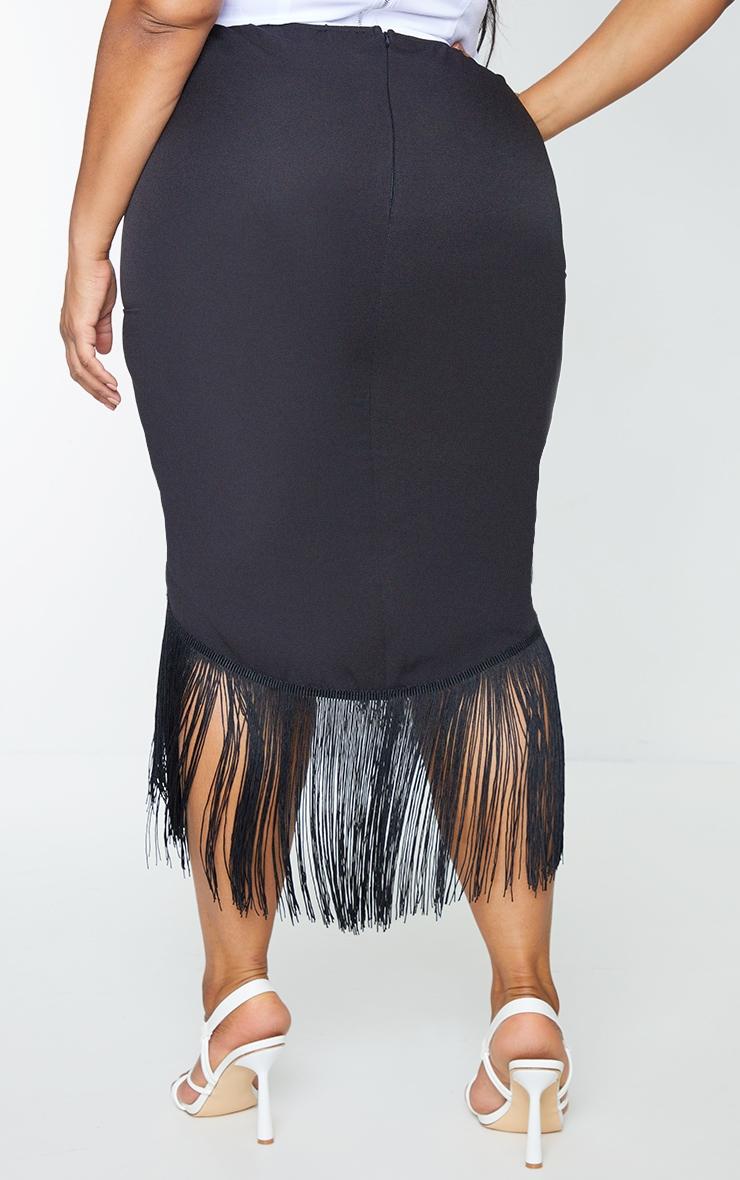 Plus Black Tassel Hem Midi Skirt 3