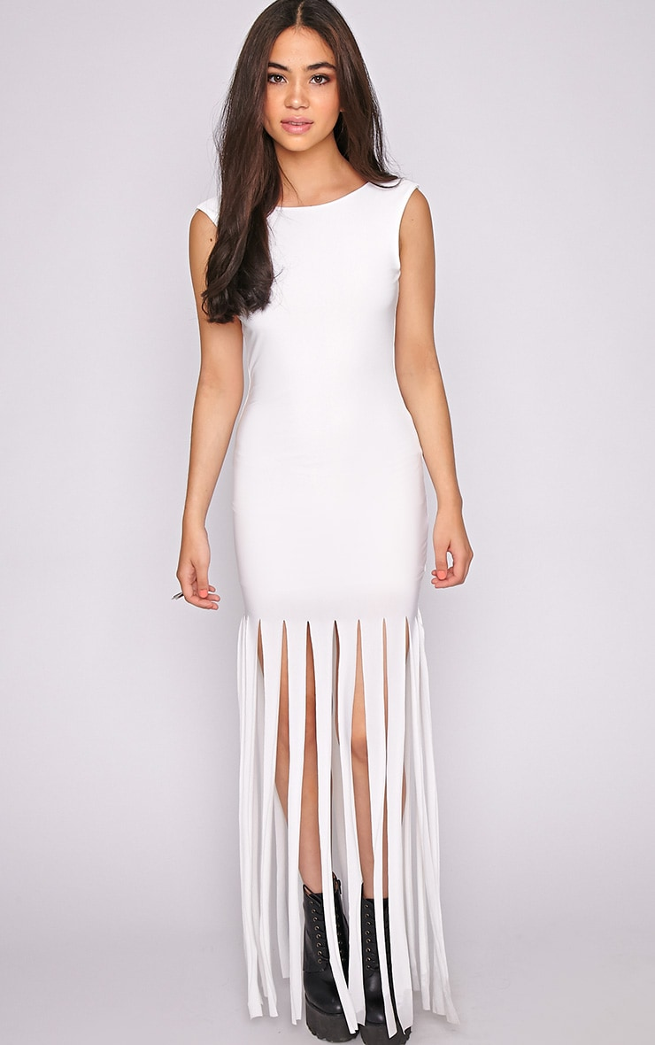 Laurel White Tassel Maxi Dress 1