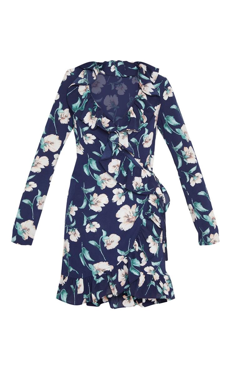 Raina robe mini cache-cœur florale marine à volants 3