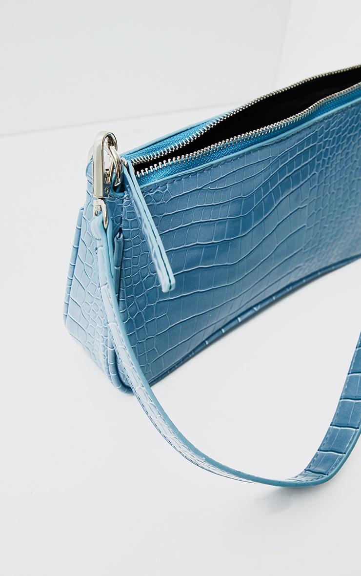 Steel Blue Croc Shoulder Bag 3