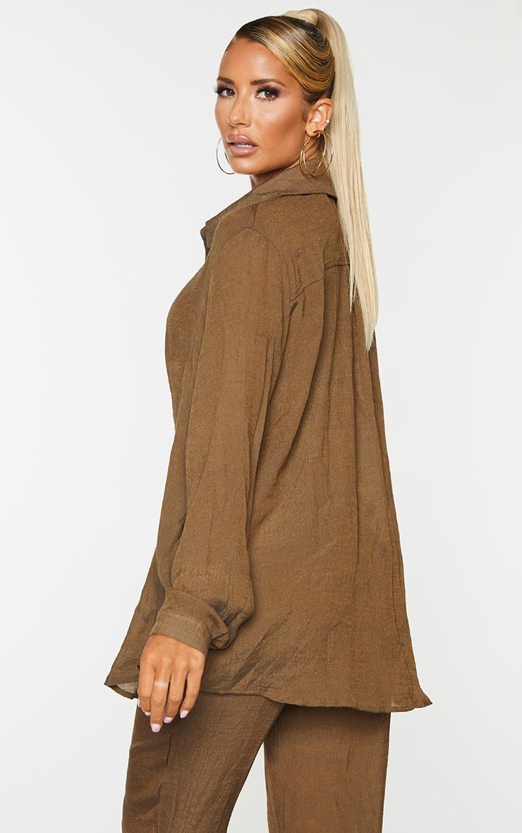 Brown Linen Look Beach Shirt 2