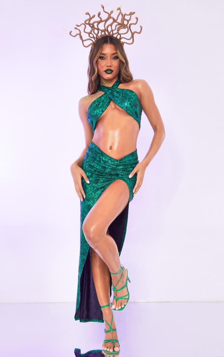 Green Medusa Fancy Dress Costume 3