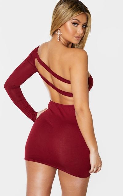 Burgundy Jersey One Shoulder Double Back Strap Bodycon Dress