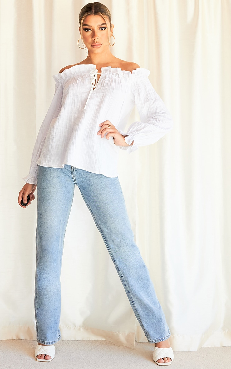 White Textured Bardot Tie Top 3
