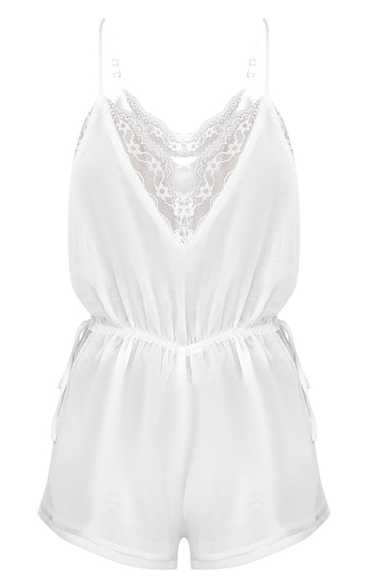 White Lace Insert Chiffon Teddy 3