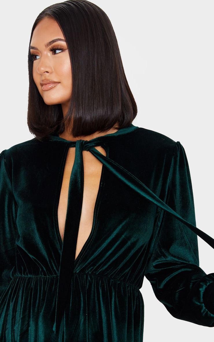 Emerald Green Velvet Key Hole Tie Neck Front Long Sleeve Shift Dress 5