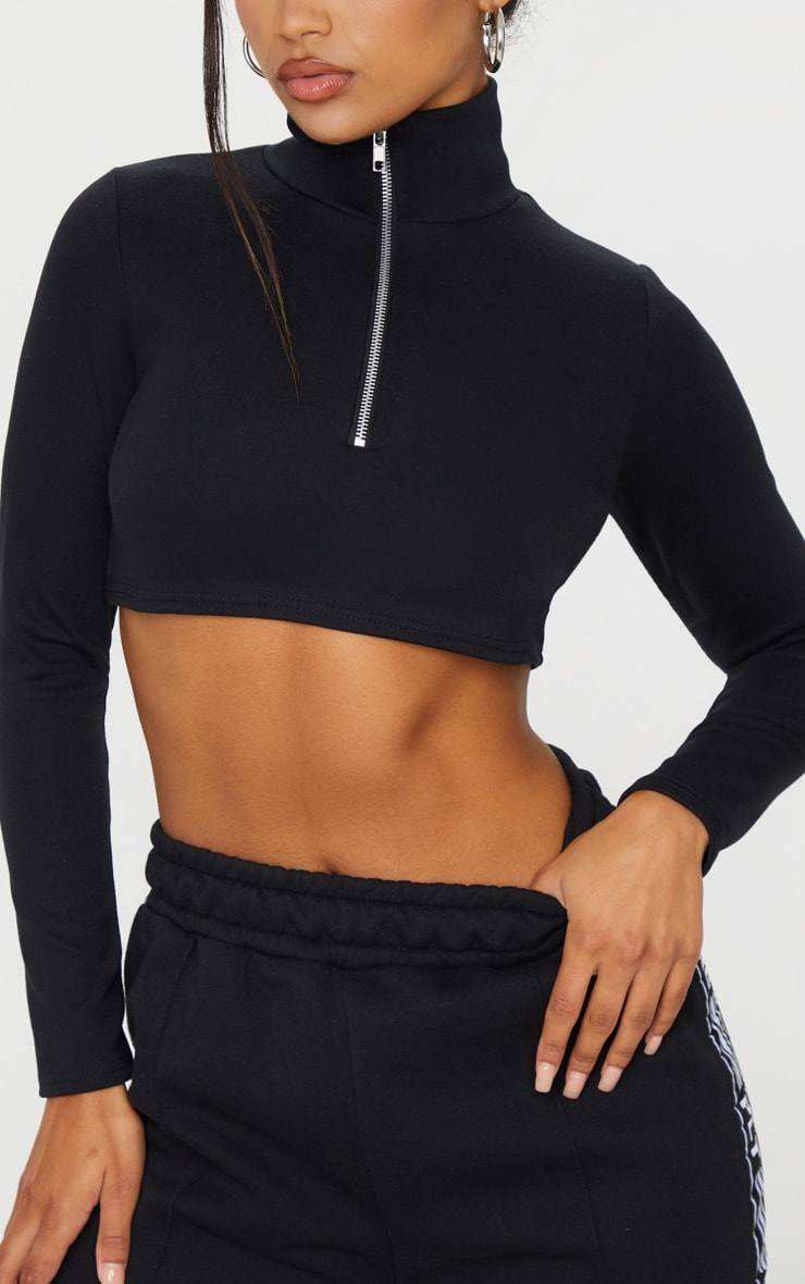 Black Zip Front Cropped Sweater 4