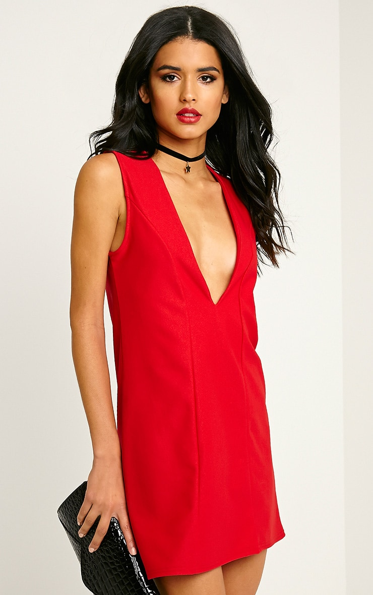 Ronnie Red Deep V Plunge Loose Fit Crepe Dress 4
