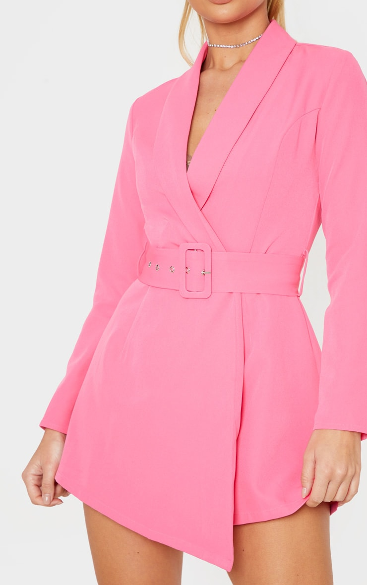 Pink Long Sleeve Tailored Belted Playsuit 5