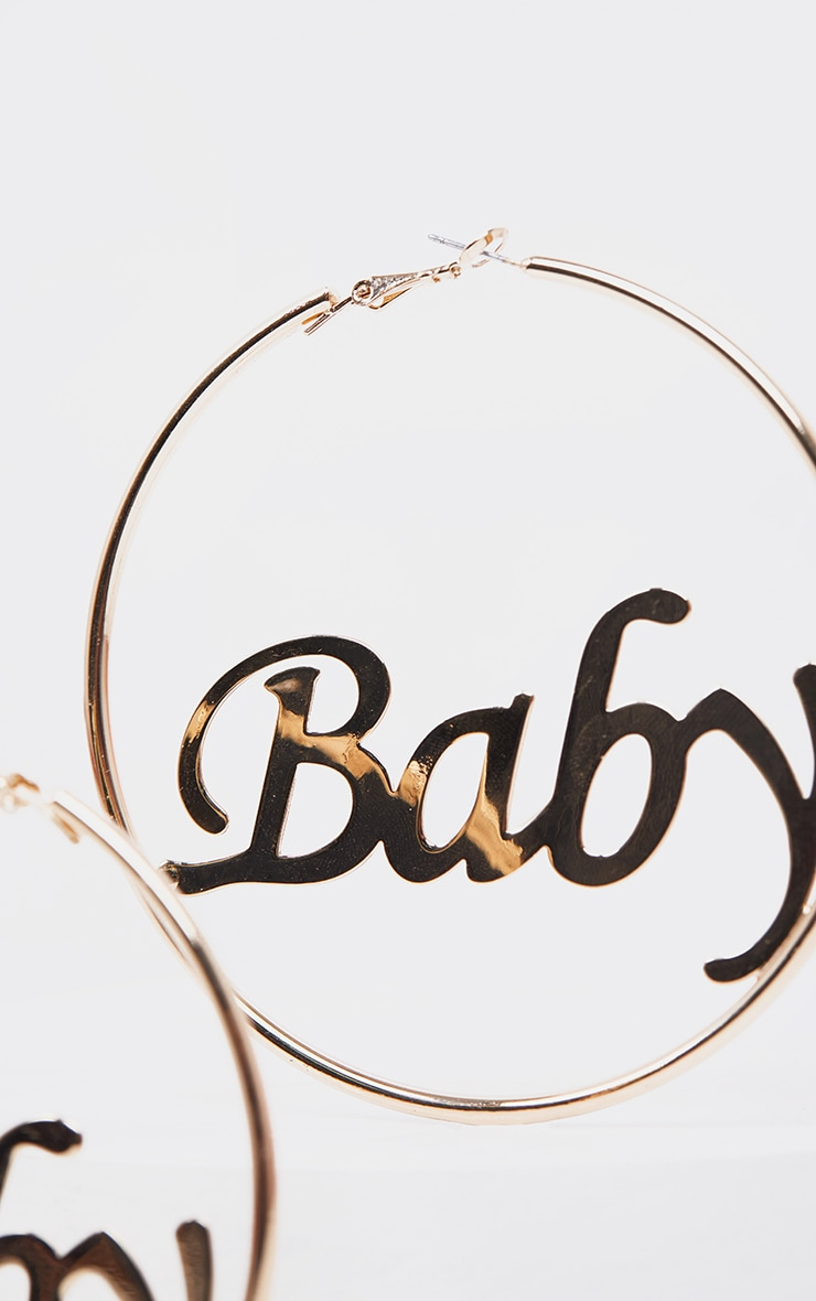 Gold Baby Slogan Large Hoop Earning 3