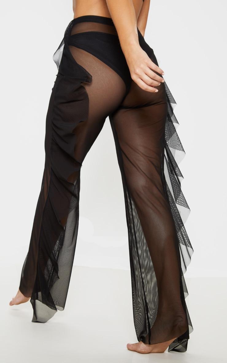 Pantalon de plage noir en mesh volanté  4