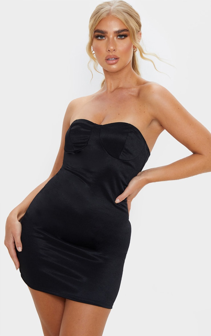 Black Shimmer Slinky Bandeau Bodycon Dress 1