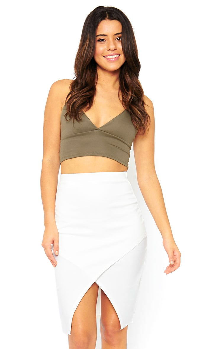 Melrose Cream Scuba Midi Skirt 1