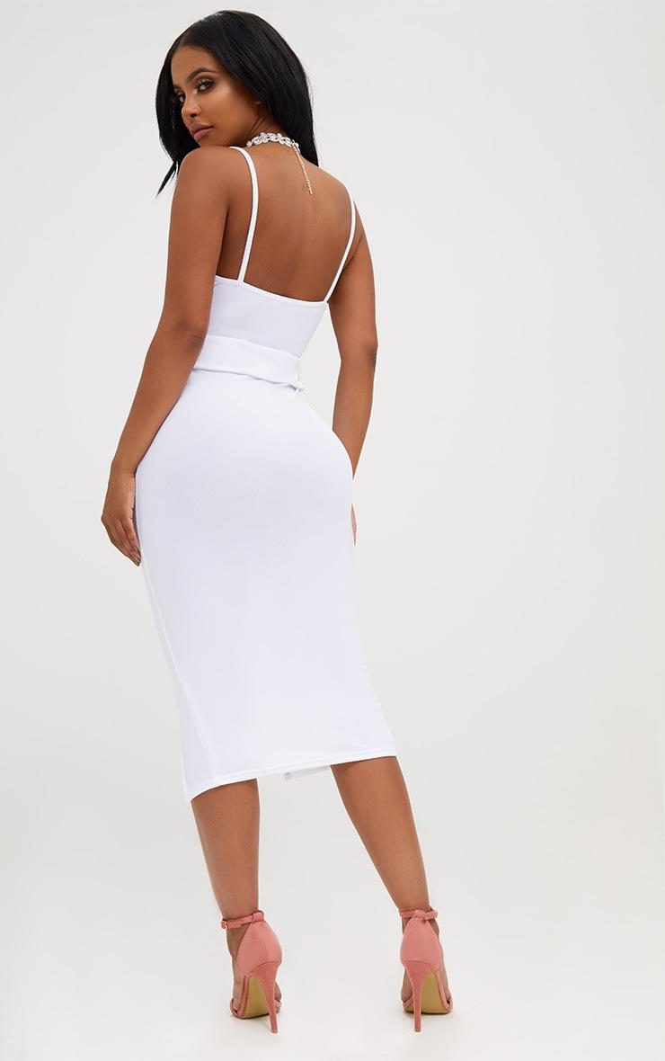 Shape White Front Split O-Ring Midi Dress 2