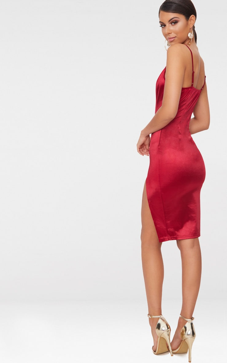 Dark Red Satin Extreme Split Plunge Midi Dress  2