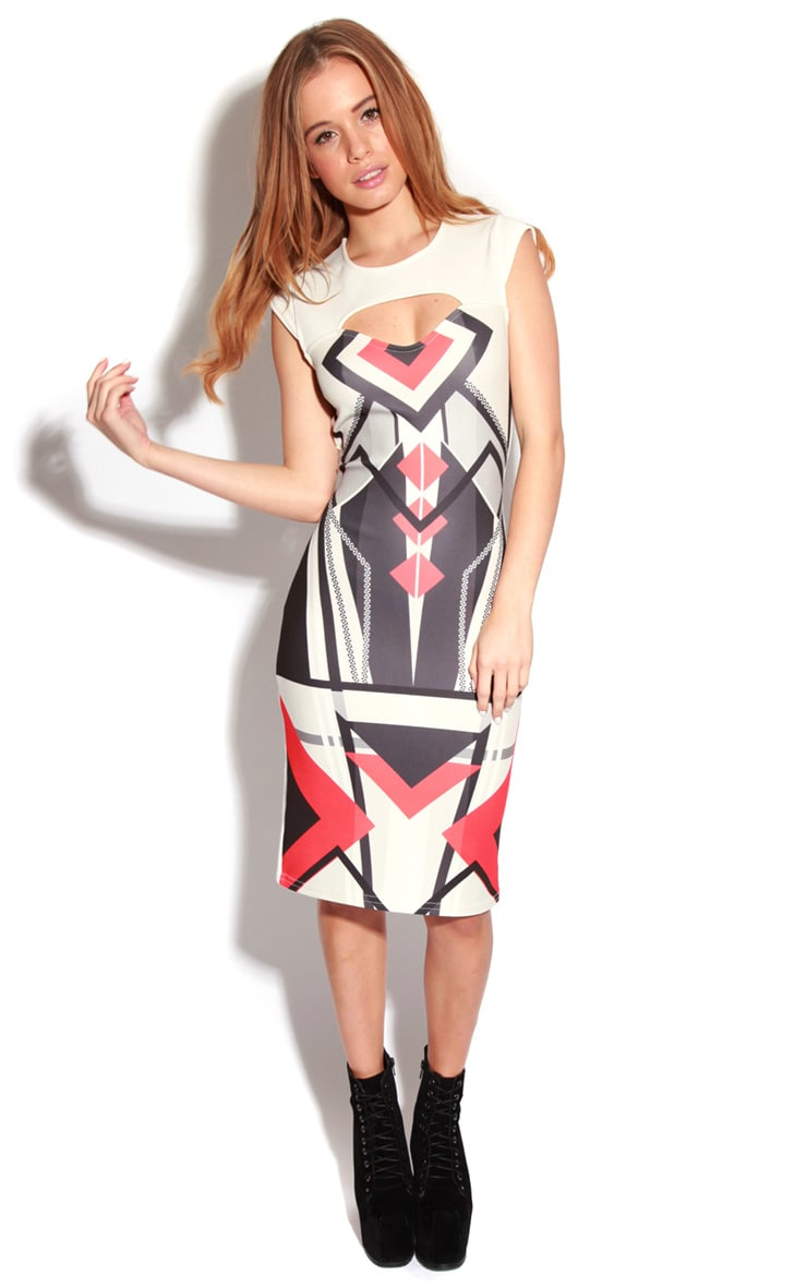 Brook White Graphic Print Cut-Out Midi Dress 4