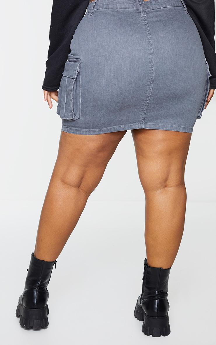 Plus Grey Denim Cargo Pocket Skirt 3