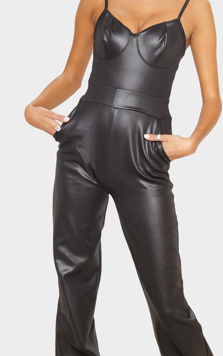 Tall Black Wide Leg PU Flared Trouser 5