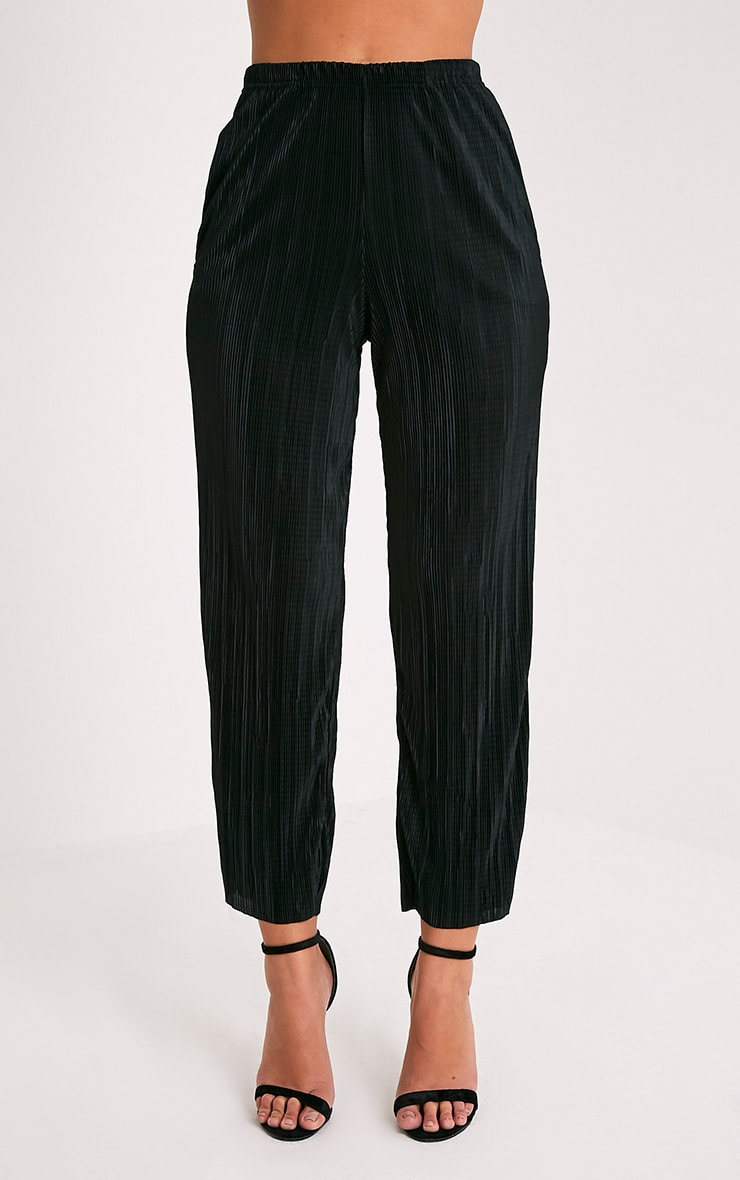 Lianne Black Soft Pleated Cigarette Trousers 2