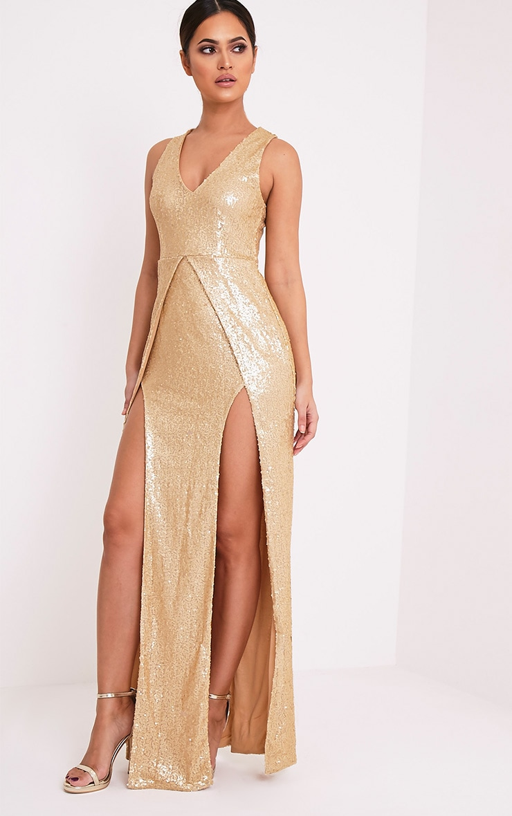 Jestina Gold Sequin Maxi Dress 1