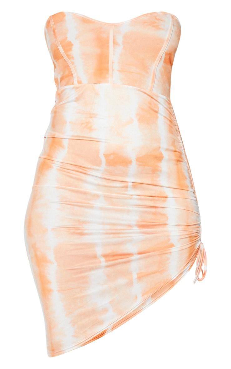 Orange Slinky Tie Dye Binding Detail Ruched Bandeau Bodycon Dress 5