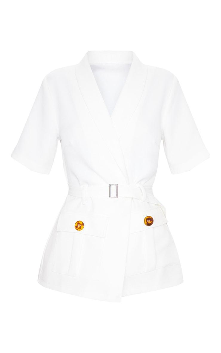 White Short Sleeve Belted Waist Blazer 5