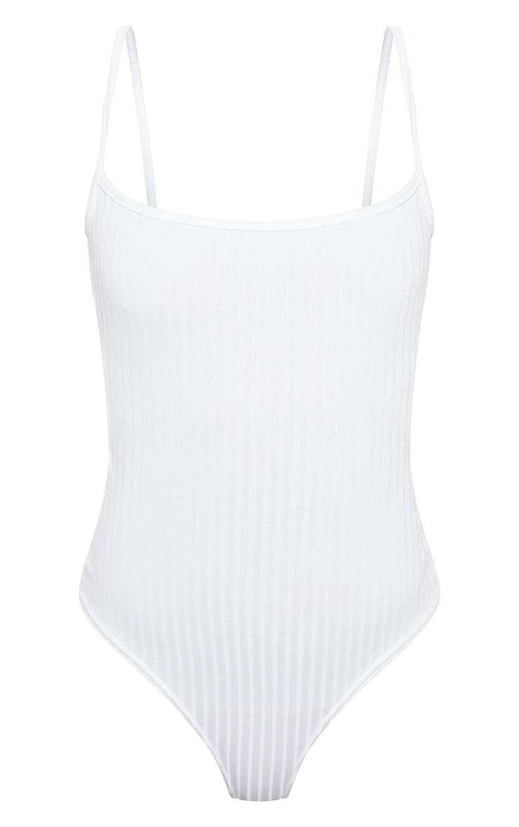 White Rib Strappy Back Bodysuit 3