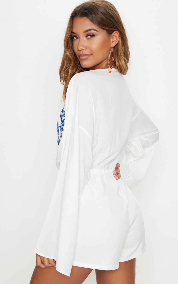 White Applique Plunge Playsuit  2