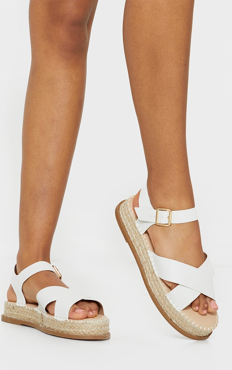 White Studded Flatform Espadrille Cross Strap Sandals 2