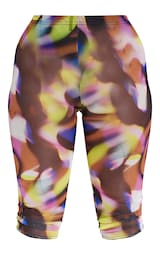 Shape Pink Abstract Print Sheer Mesh Ruched Bum Cropped Leggings 5