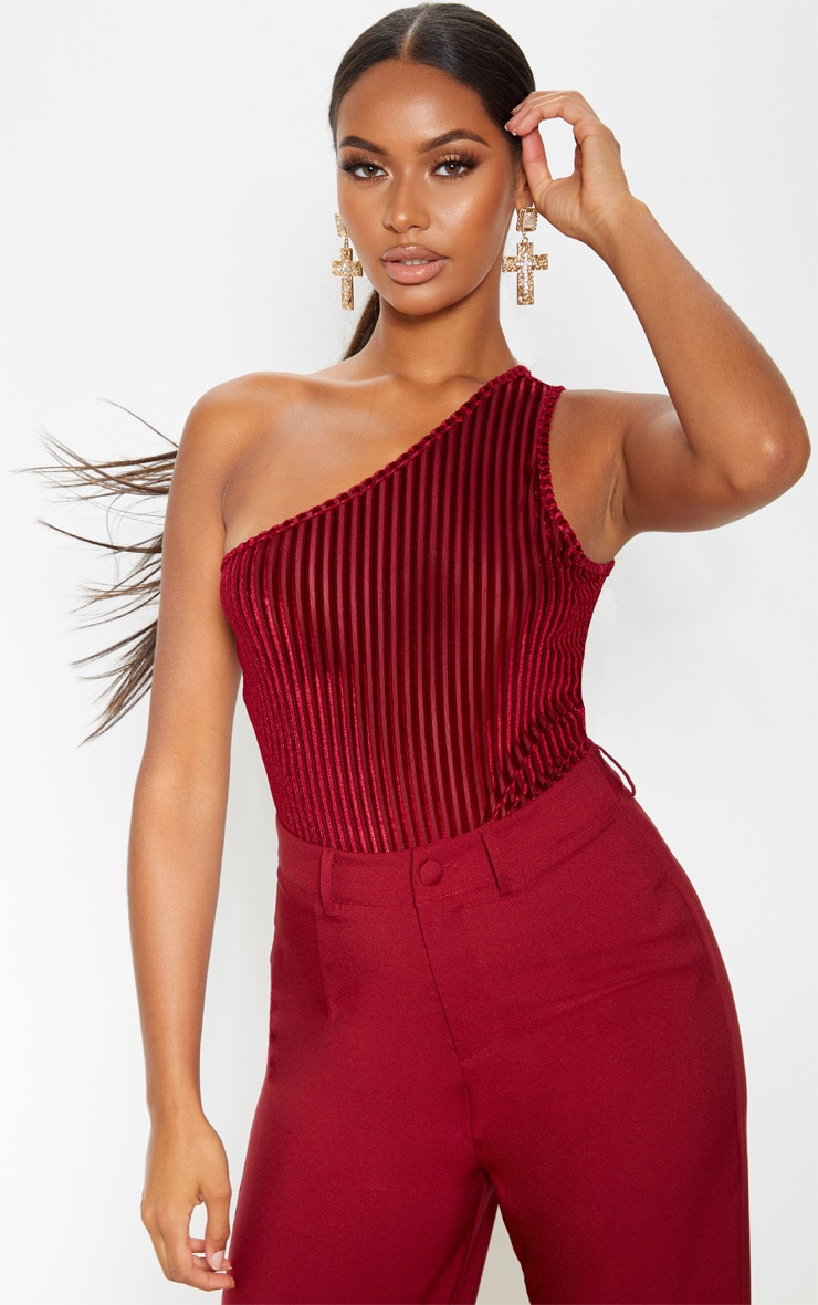 Wine Velvet Stripe One Shoulder Bodysuit 1