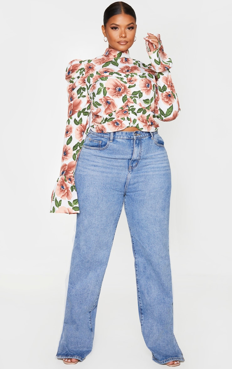 Plus Nude Floral Ruched High Neck Blouse 3