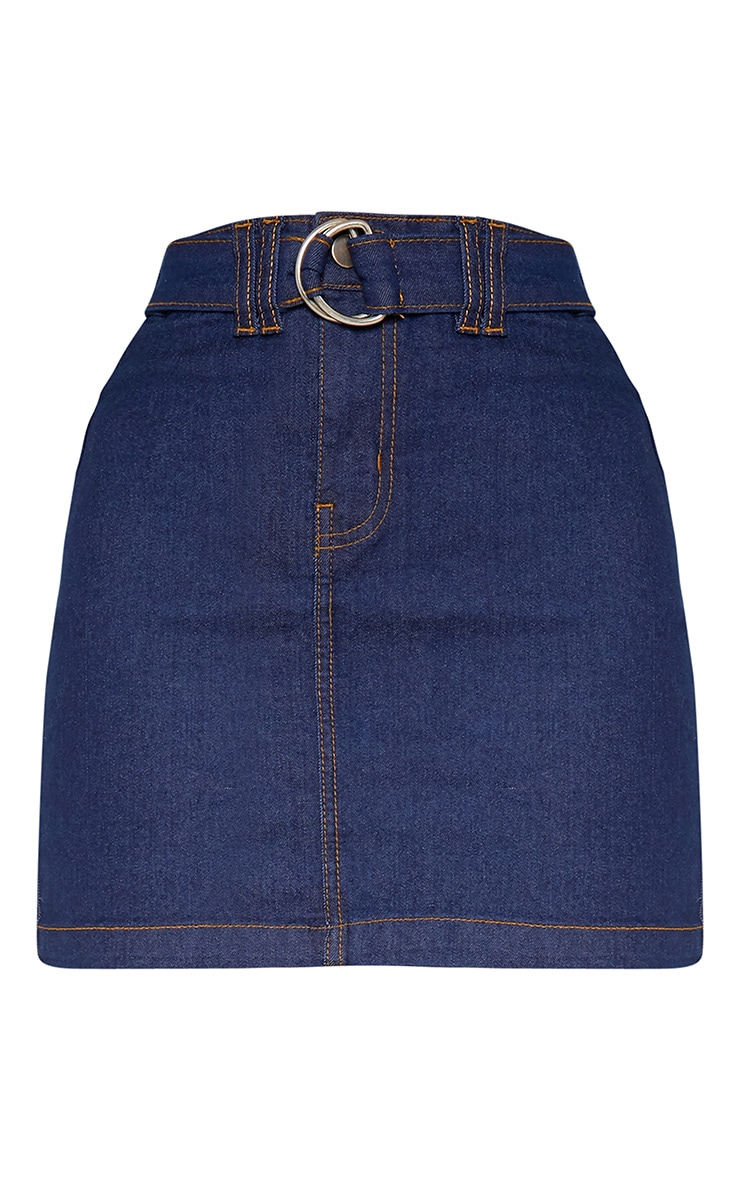 Dark Wash O-Ring Belt Detail Denim Mini Skirt 4