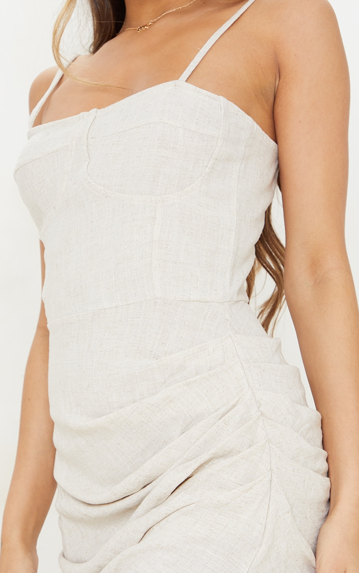 Stone Linen Strappy Gathered Skirt Detail Midaxi Dress 4