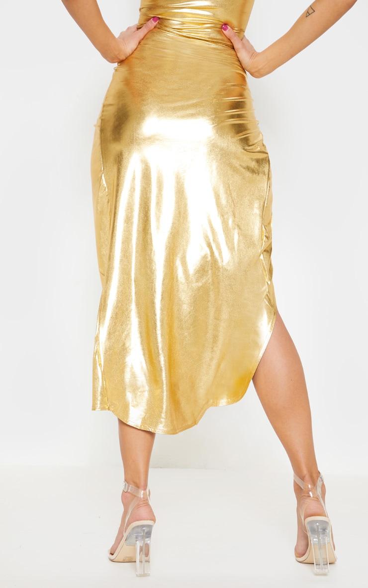 Gold Metallic Slinky Knot Front Midi Skirt 4