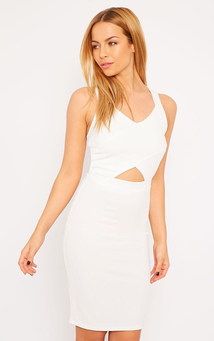 Habiba White Crepe Keyhole Cut Out Mini Dress 2