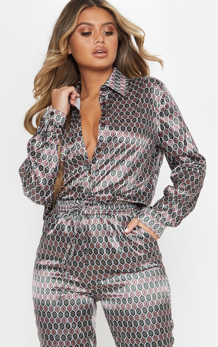brown geo print oversized shirt