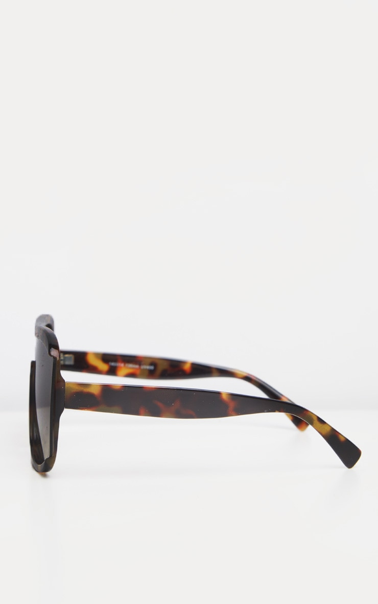 Tortoiseshell Curved Edge Oversized Sunglasses 3