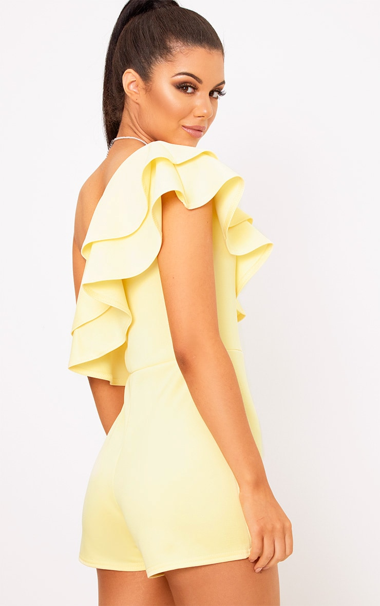 Yellow One Shoulder Frill Detail Playsuit 2