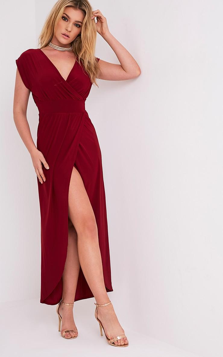 Marlisa Oxblood Slinky Plunge Maxi Dress 1