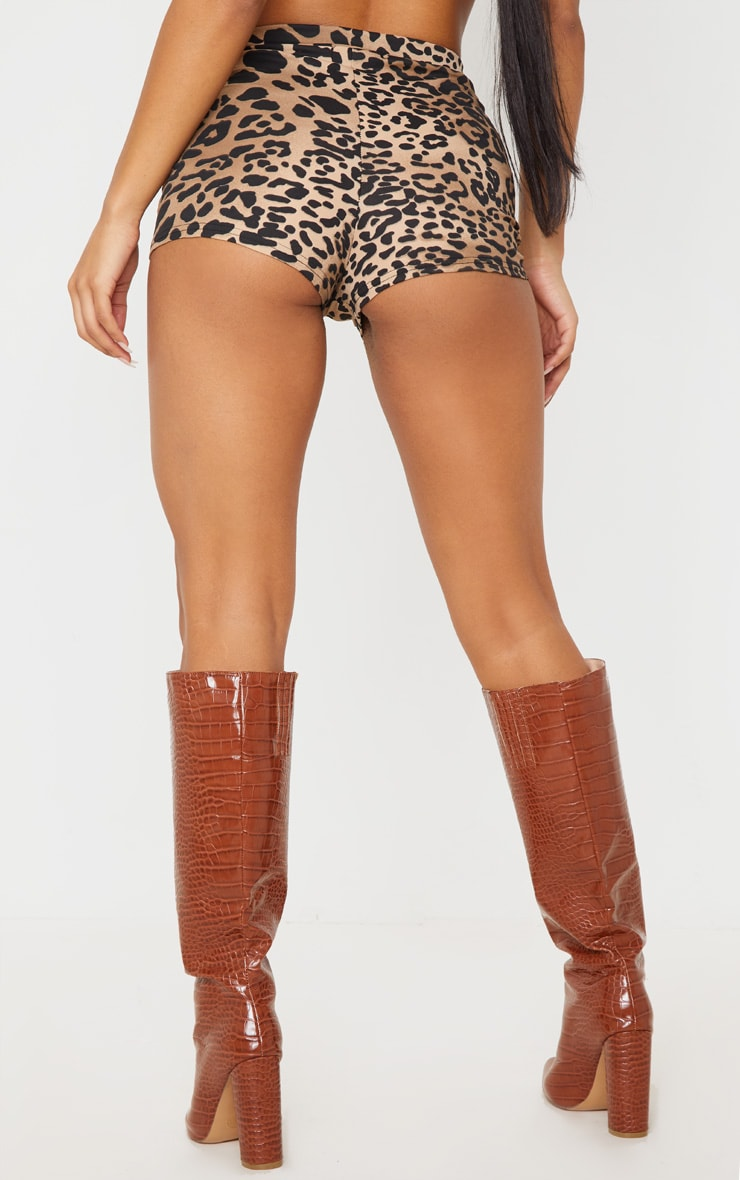 Leopard Print Jersey High Waisted Hot Pants 4