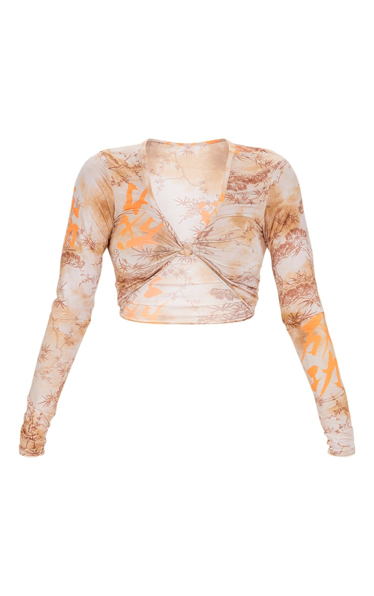 Orange Tie Dye Printed Twist Front Long Sleeve Crop Top 3