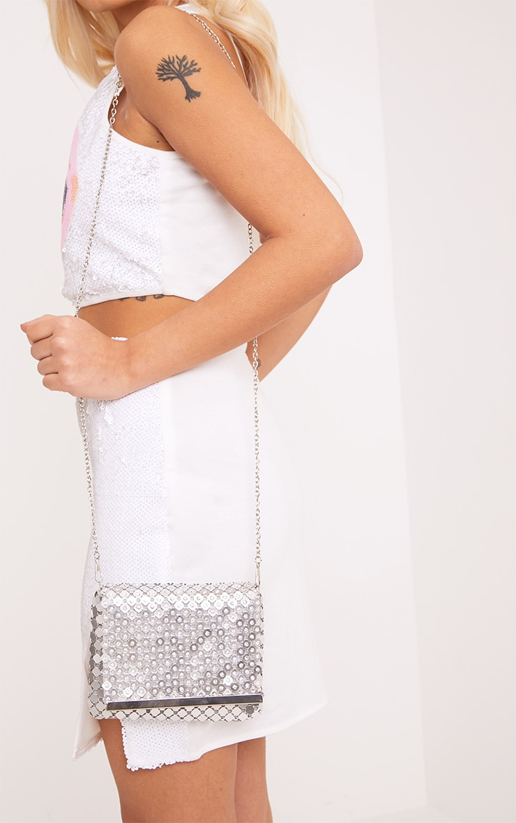 Jolee Silver Chainmail Clutch 1