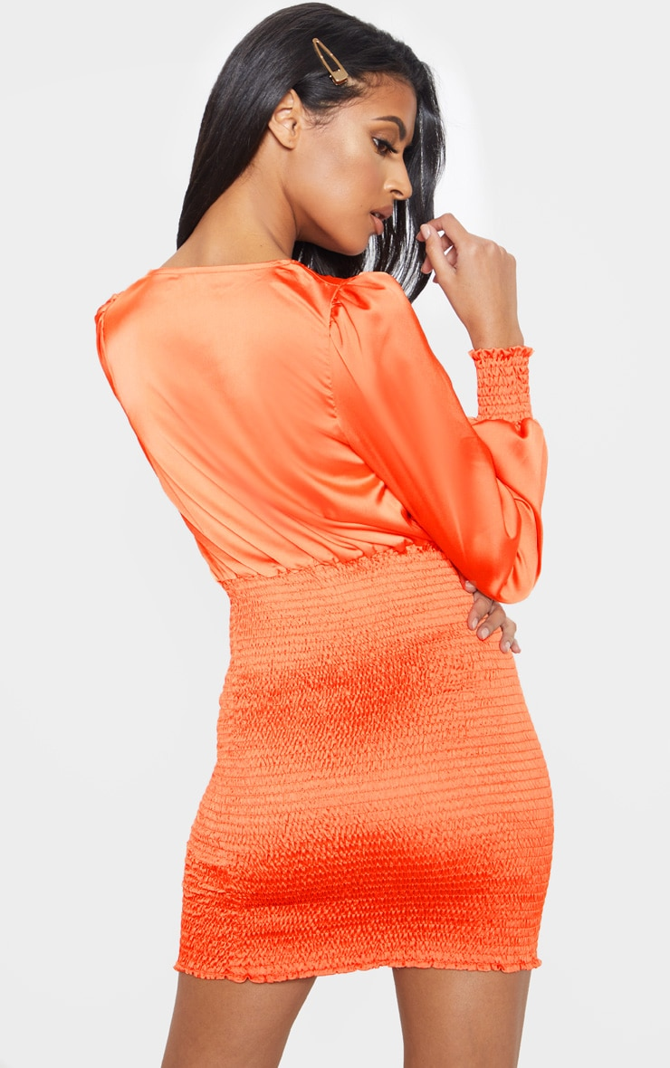 Orange Shirring Bodycon Dress 2