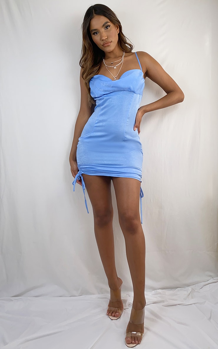 Blue Satin Ruched Side Strappy Bodycon Dress 3