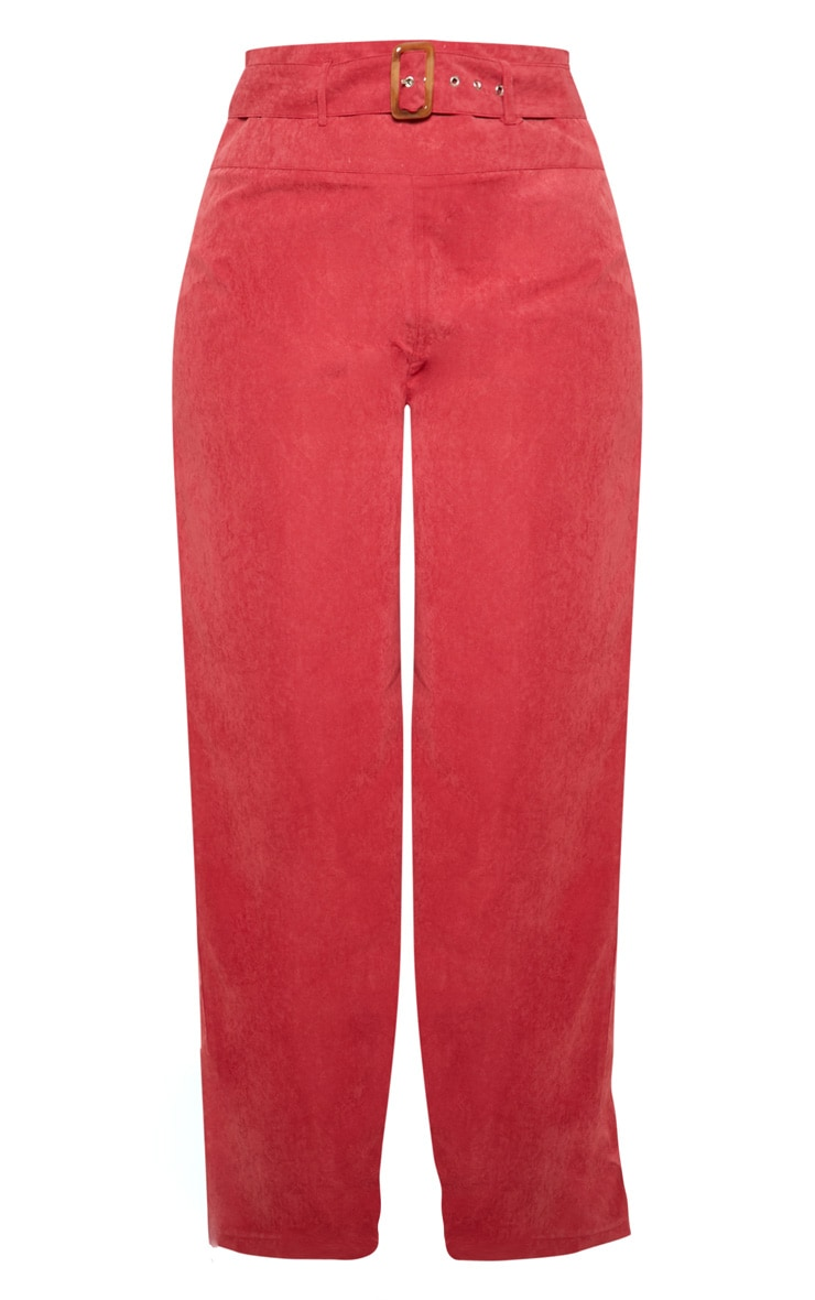 Plus Burgundy Faux Suede Belted Wide Leg Trouser 3